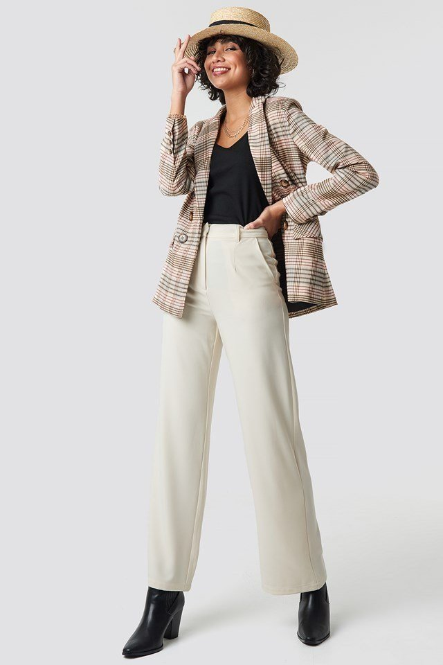 Checkered Straight Double Breasted Blazer Beige Outfit