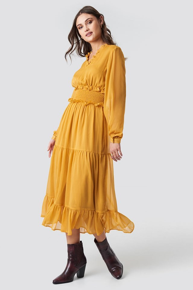 Ruffle Details Flowy Midi Dress Yellow Outfit