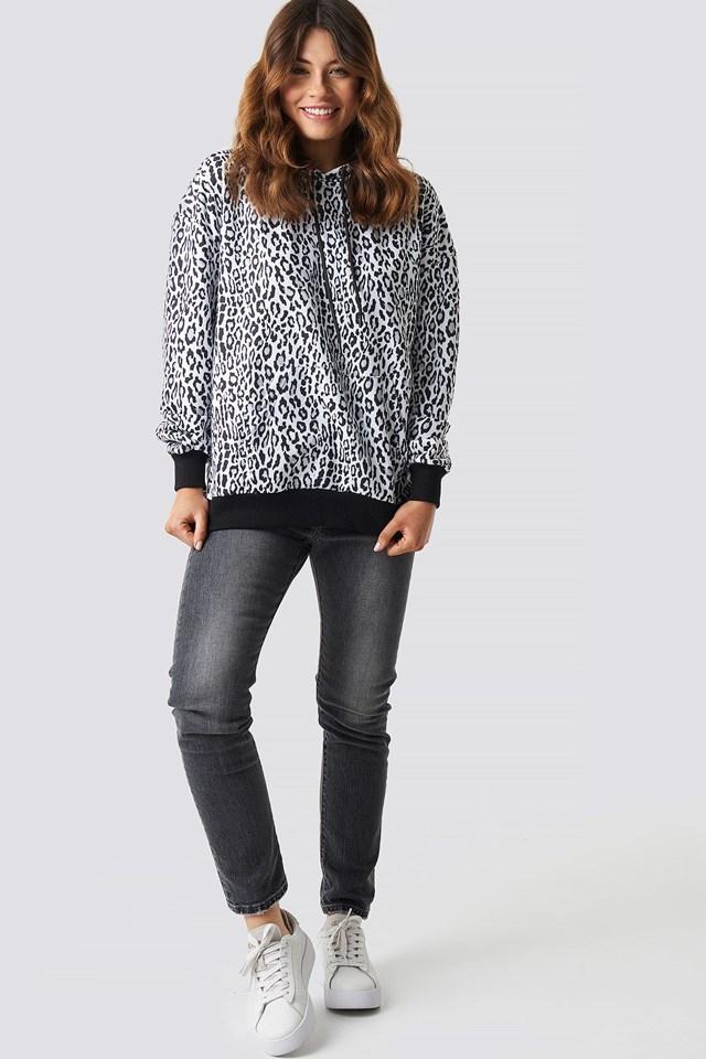 Leopard Print Oversized Hoodie