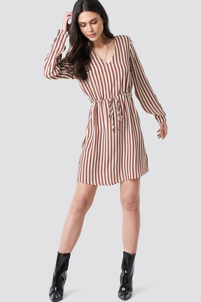 Drawstring Waist Striped Dress Pink Outfit