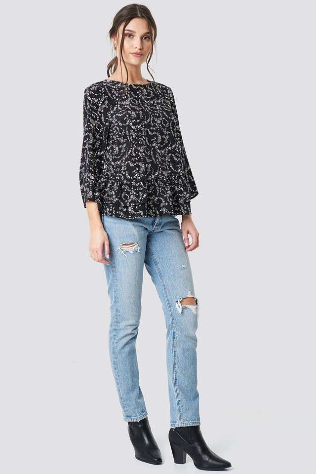 Frill Flower Printed Blouse Black Outfit