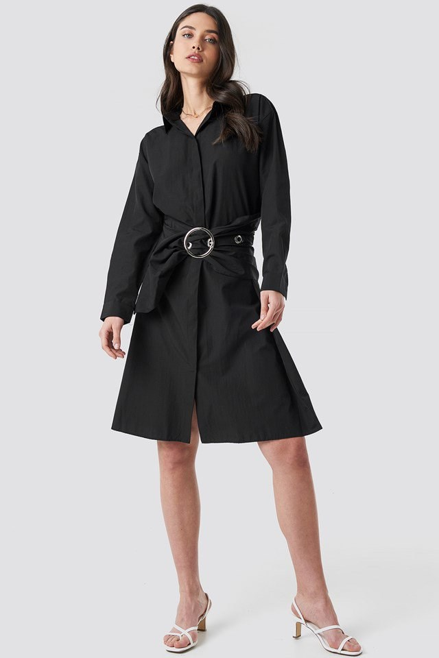 Belt Midi Dress Black Outfit