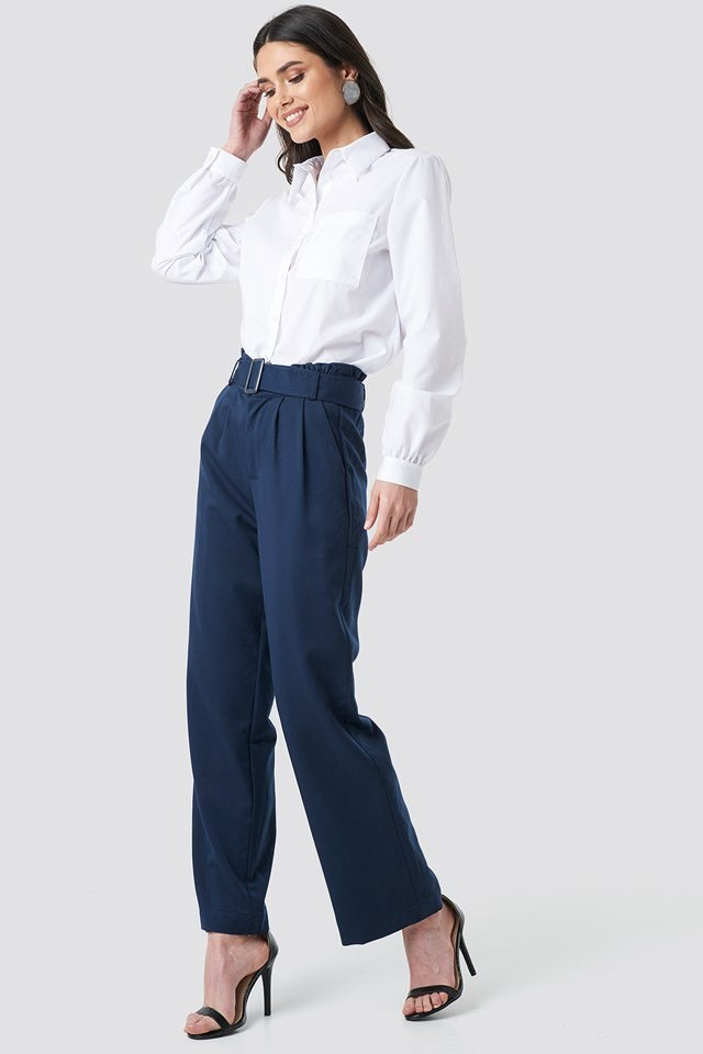 Tova Paper Waist Pants Blue Outfit