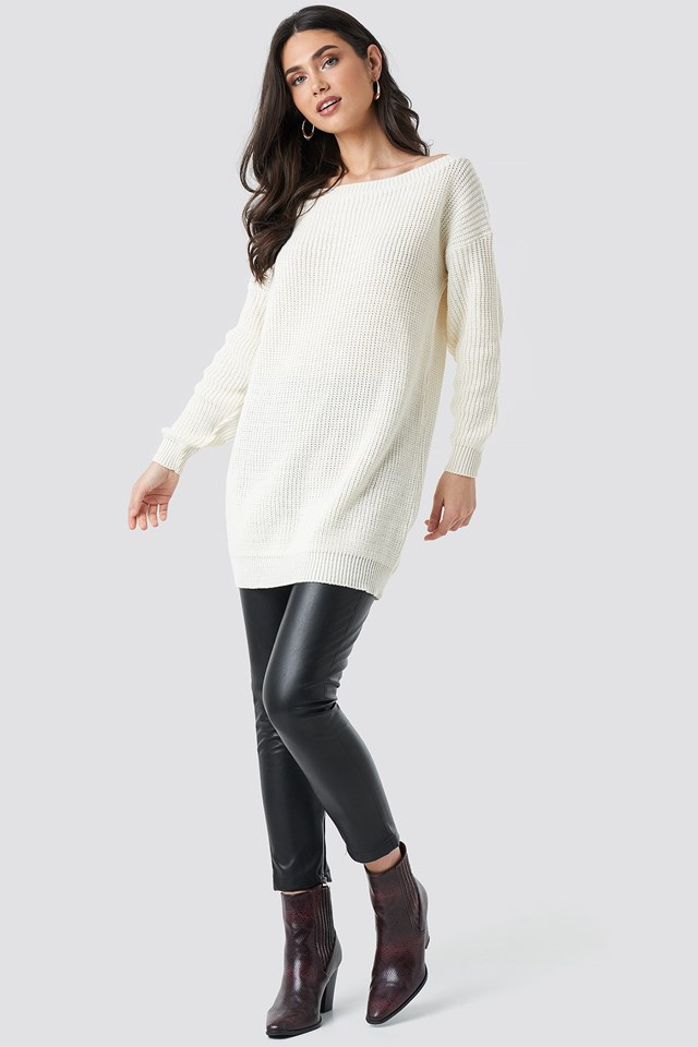 Knitted Slack Neck Jumper Dress Outfit