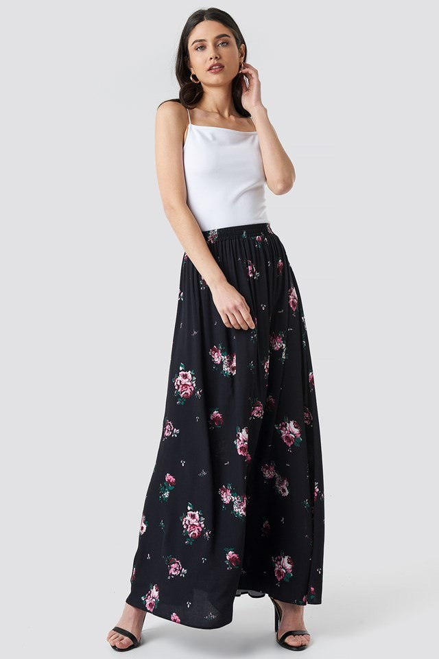 Co-ord Floral Maxi Skirt Black Outfit