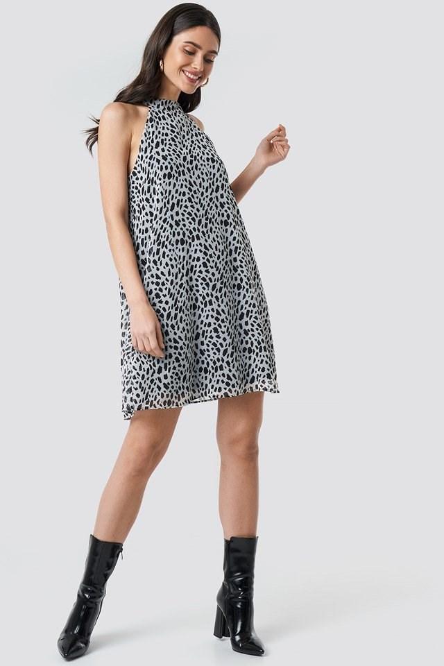 Dalmatian Print Halterneck Swing Dress Multicolor Outfit