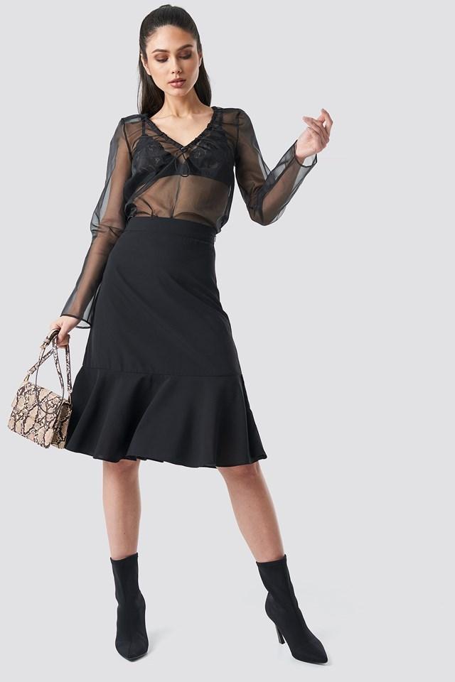 Flounce Midi Skirt Black Outfit