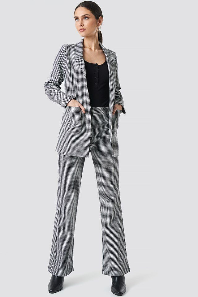 Patterned Blazer Jacket Grey Outfit