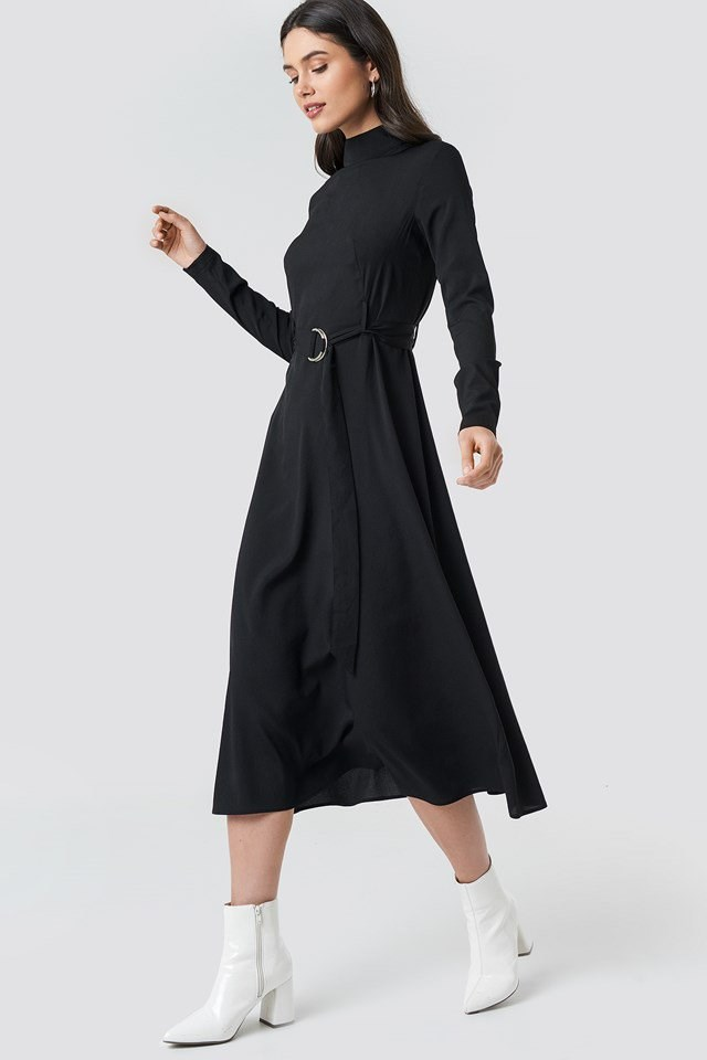 High Neck Belted Maxi Dress Black Outfit