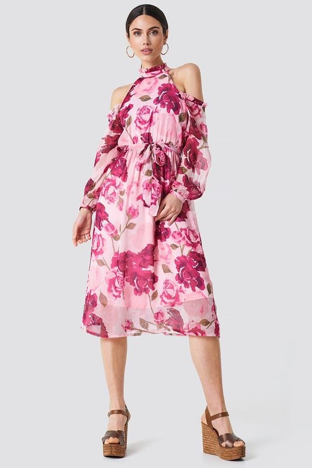 Midi Dress with Cold Shoulder Details