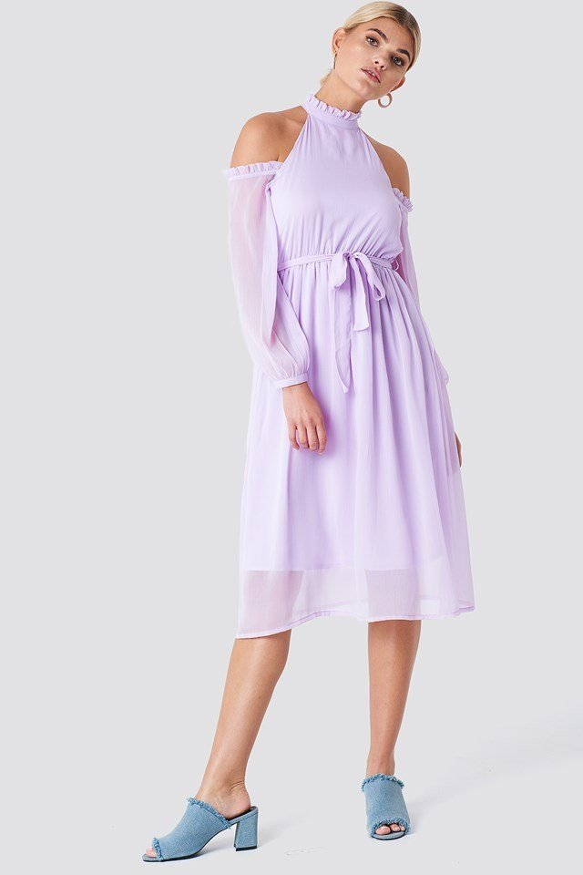 Midi Dress with High Neck