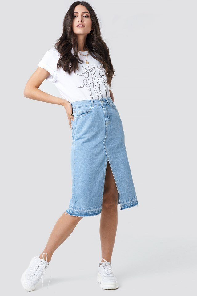 Front Slit Detailed Denim Skirt Blue Outfit