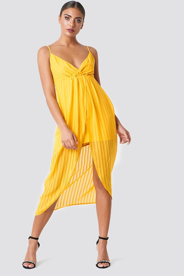 Midi Dress with Front Twist