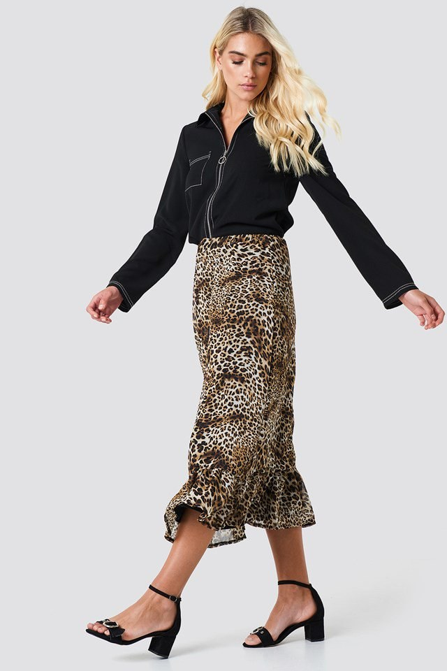 Leopard Skirt with tailored shirt