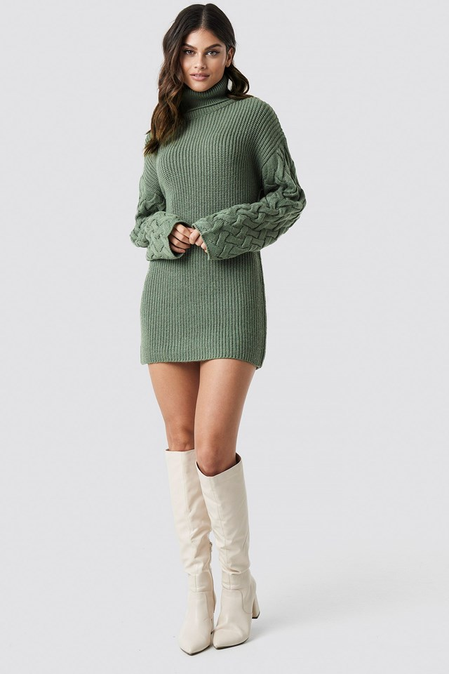 Sleeve Detail Knitted Dress Green Outfit
