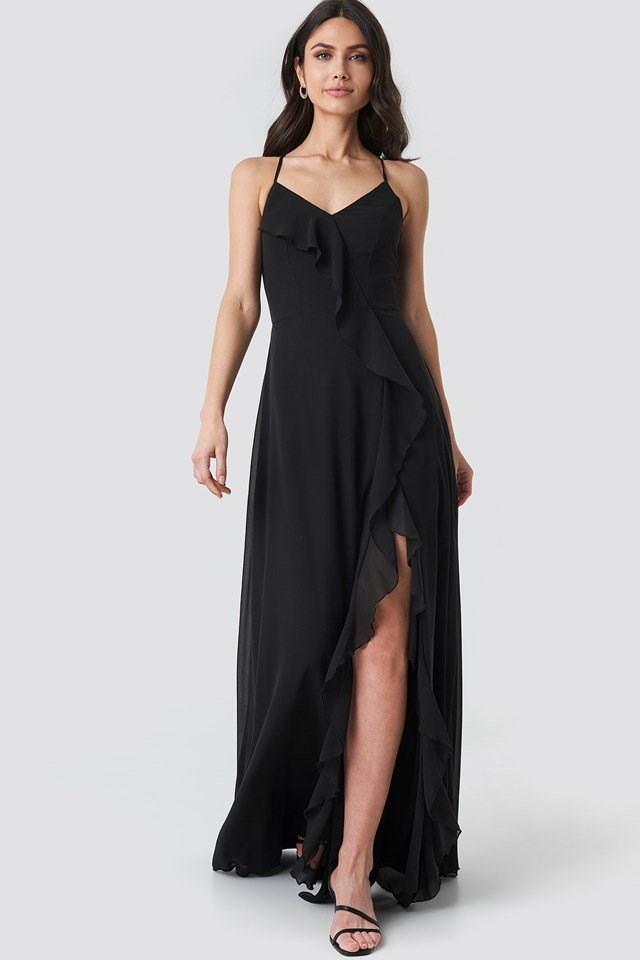 Frilly Evening Dress Gown Black Outfit
