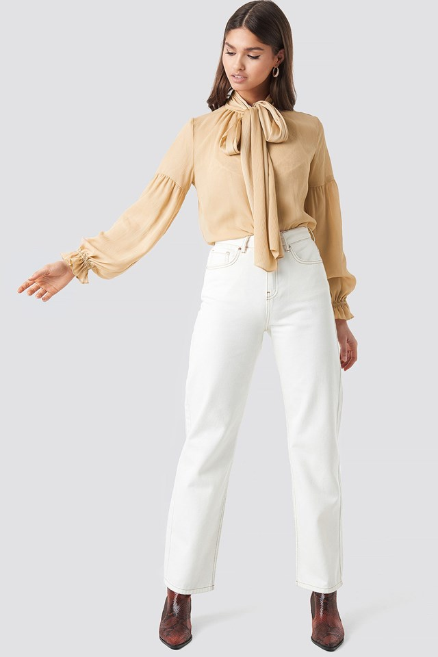 Beige Bow Tie Blouse Outfit