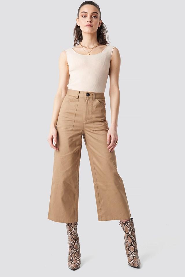 Slip Shoulder Ribbed Top Outfit