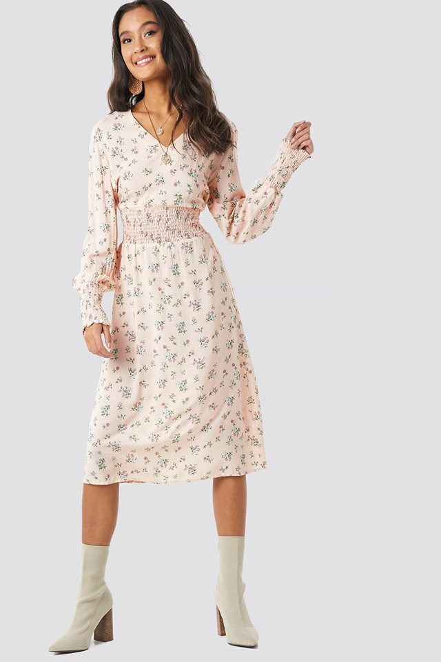 Shirred Flower Printed Dress