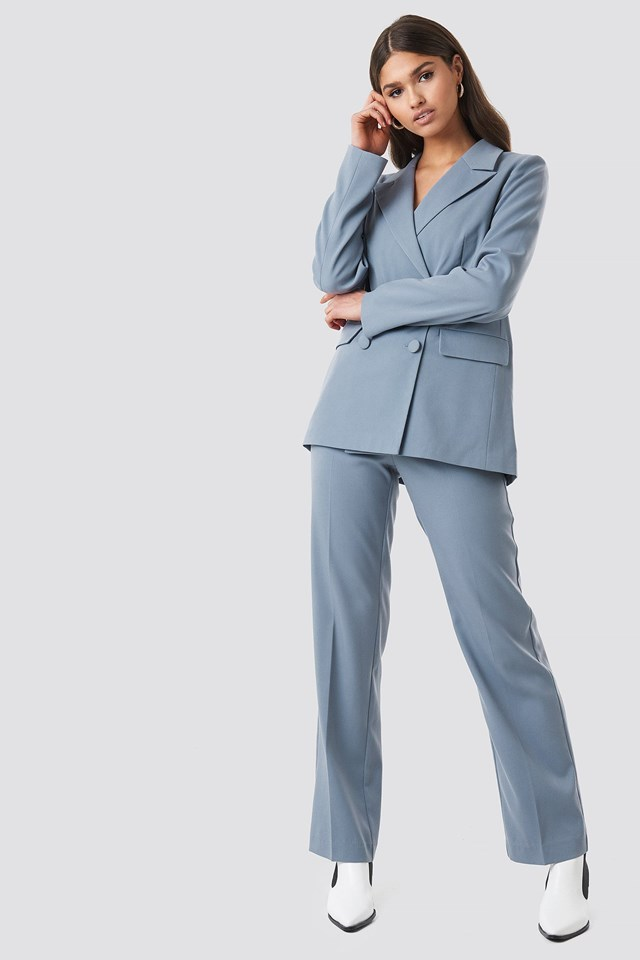 Bluegrey Straight Double Breasted Blazer Outfit