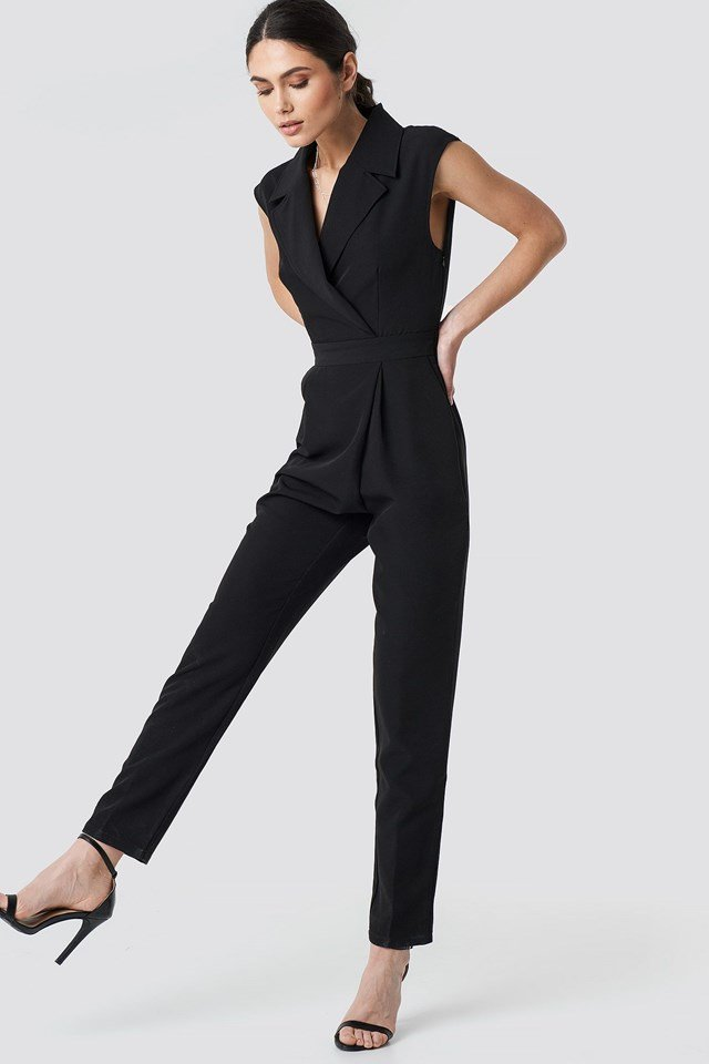 Collar Waistband Jumpsuit Outfit
