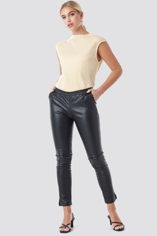PU Elastic Waist Pants Outfit