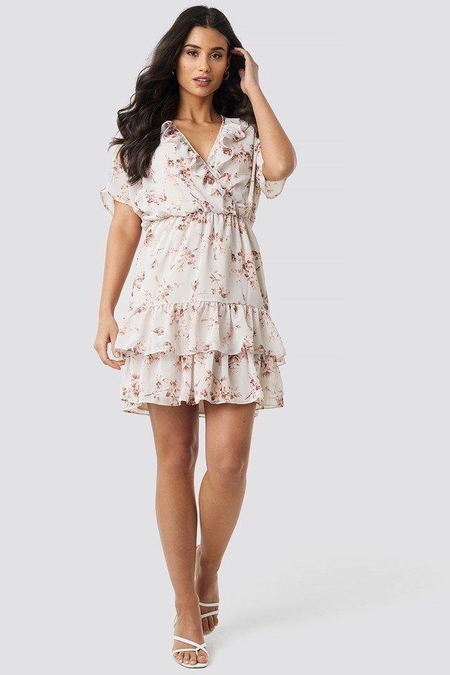 Floral Patterned Mini Dress Pink Outfit