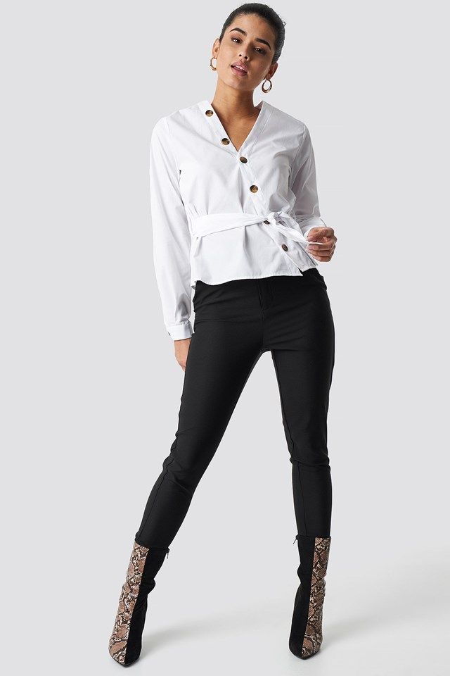 Asymmetric Buttoned Blouse Outfit