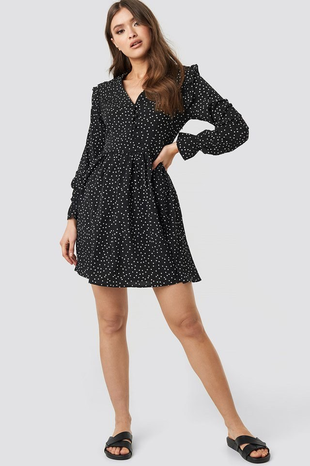 Noelle Dots V-neck Dress Black Outfit