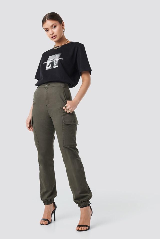 High Waist Cargo Joggers Green Outfit