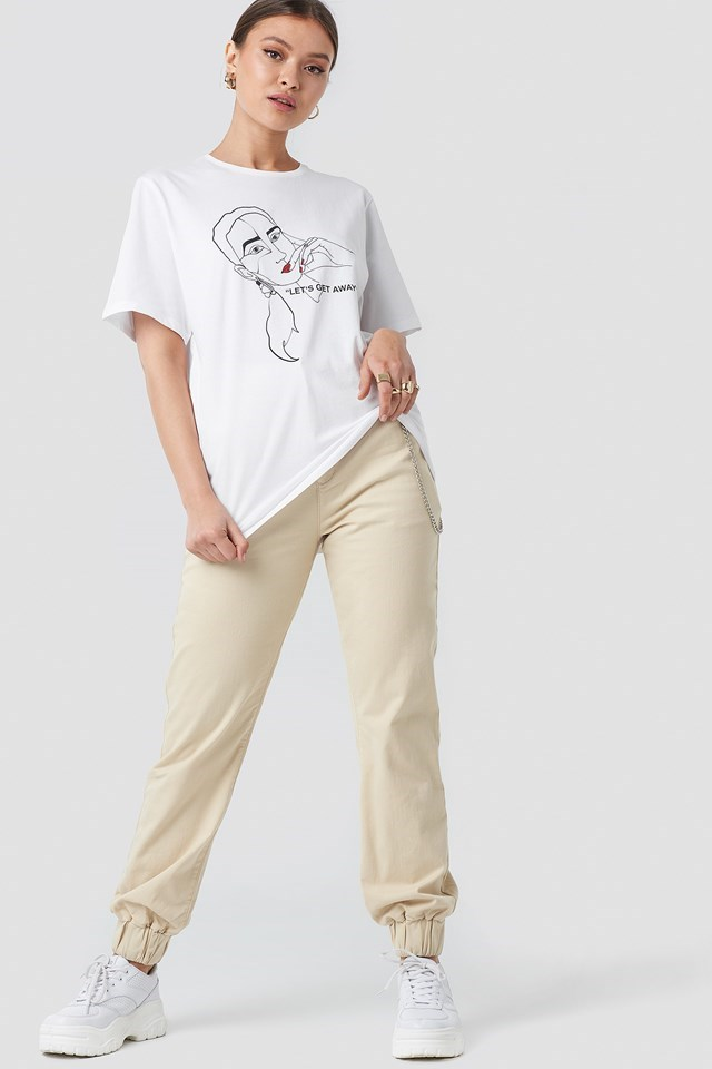 """""""Let's Get Away"""" Oversized Tshirt White Outfit"""