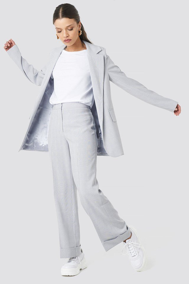 Check Straight Fitted Blazer Grey Outfit