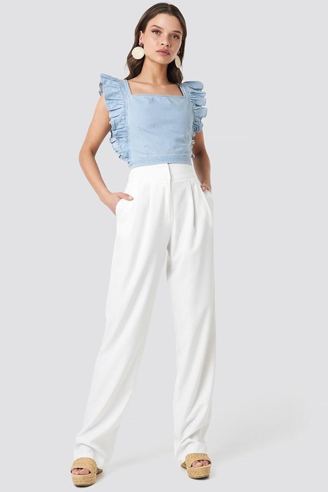 Ruffle Denim Crop Top Blue Outfit