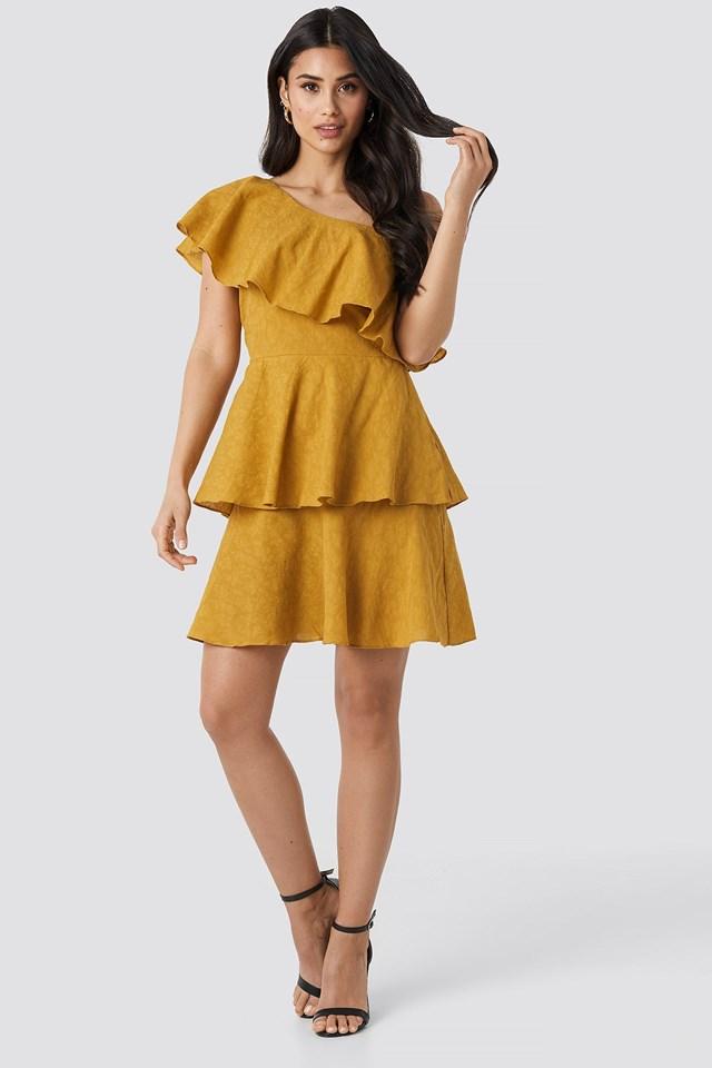Yol One Shoulder Dress Outfit.