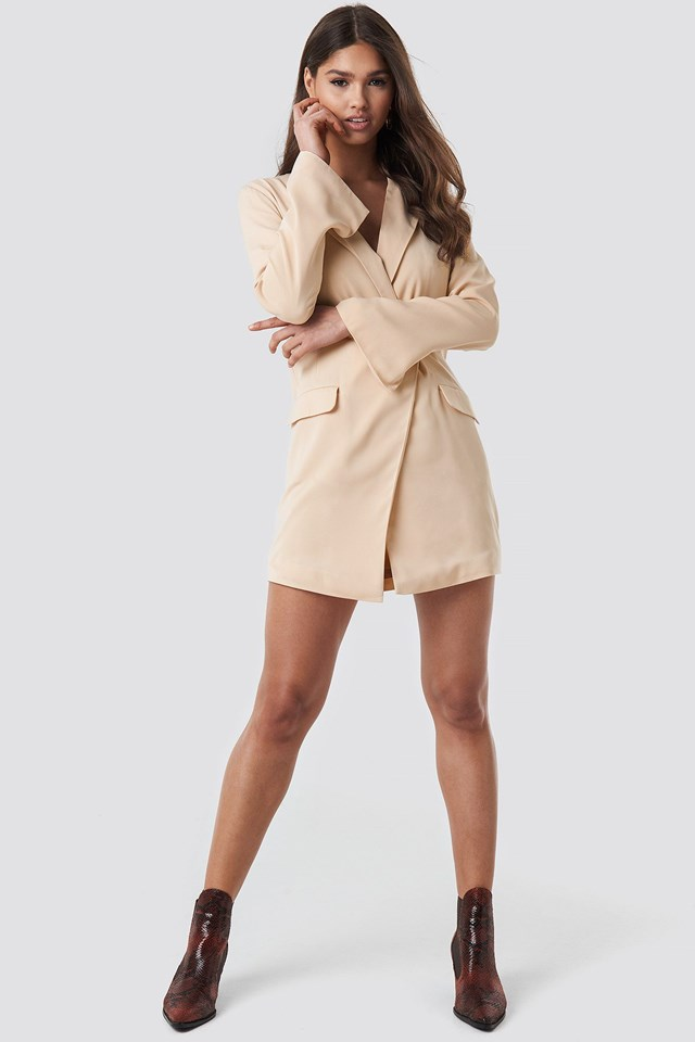Asymmetric Blazer Dress Beige Outfit