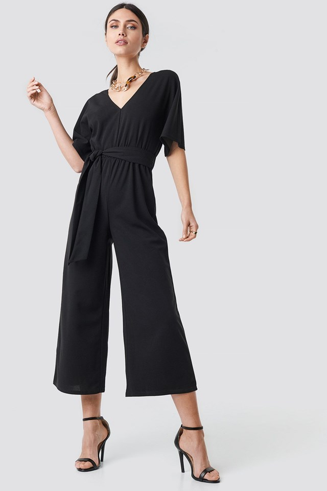 V-neck Wide Leg Jumpsuit Outfit