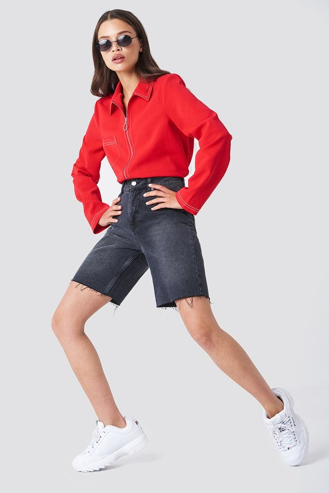 Zipper Sweatshirt with Shorts