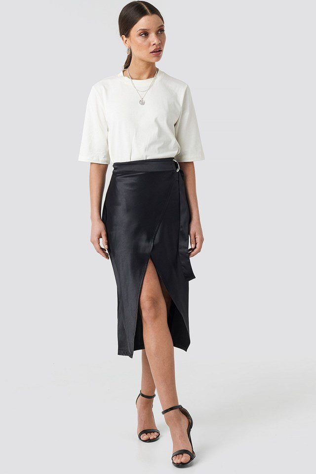 Belted Wrap Midi Skirt Outfit.