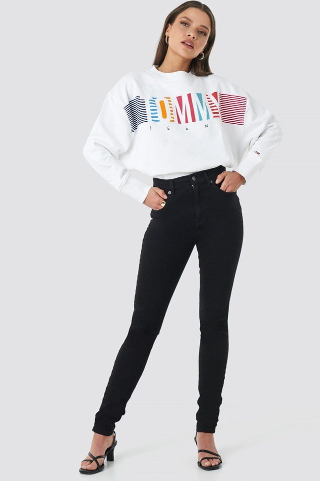 Colorful Block Tommy Crew Neck Outfit.