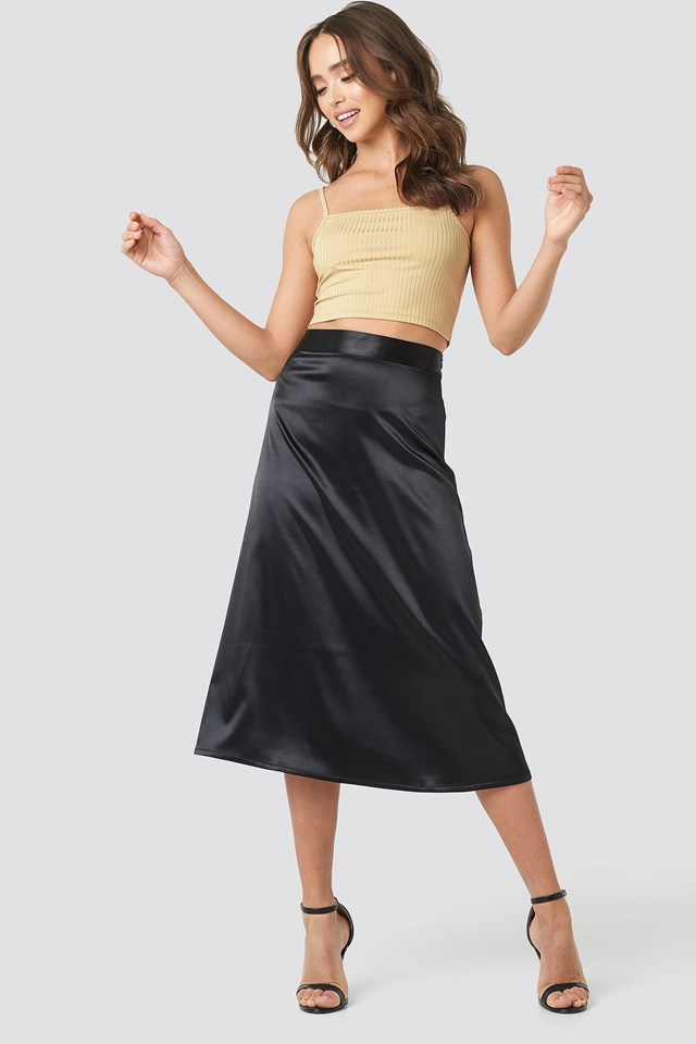 Bias Cut Satin Midi Skirt Outfit