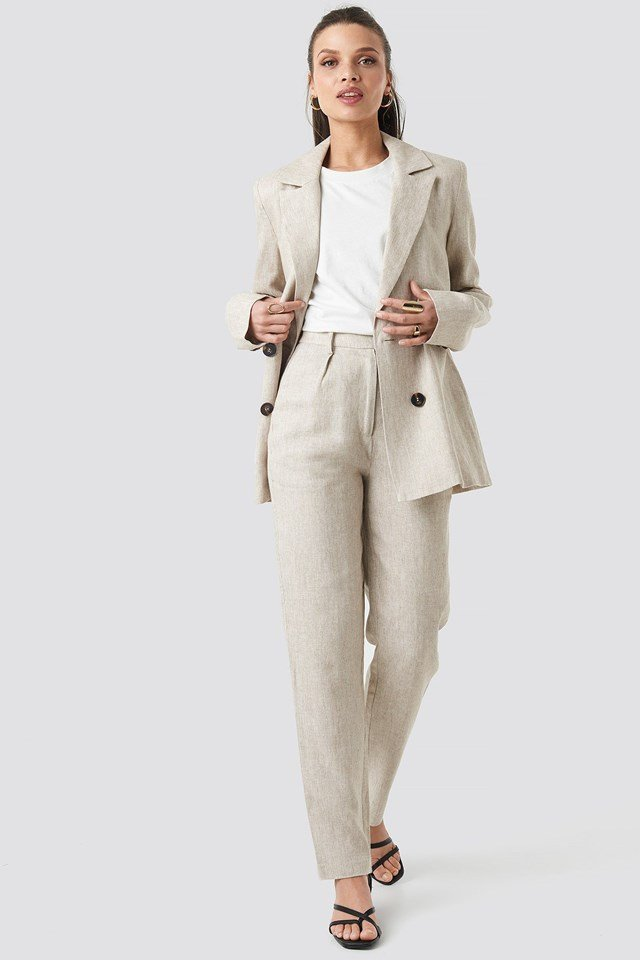 Linen Blend Double Breasted Blazer Outfit.