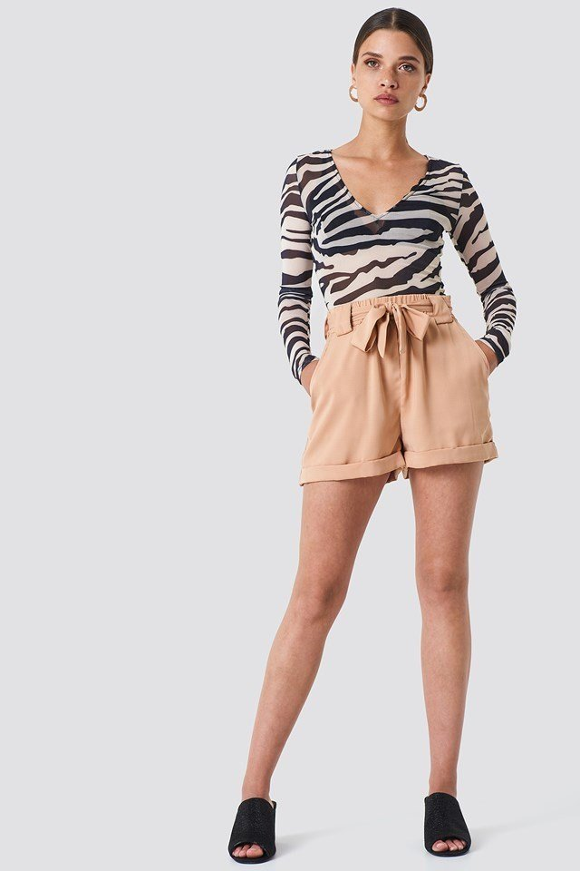 Belted Shorts with Mesh Body