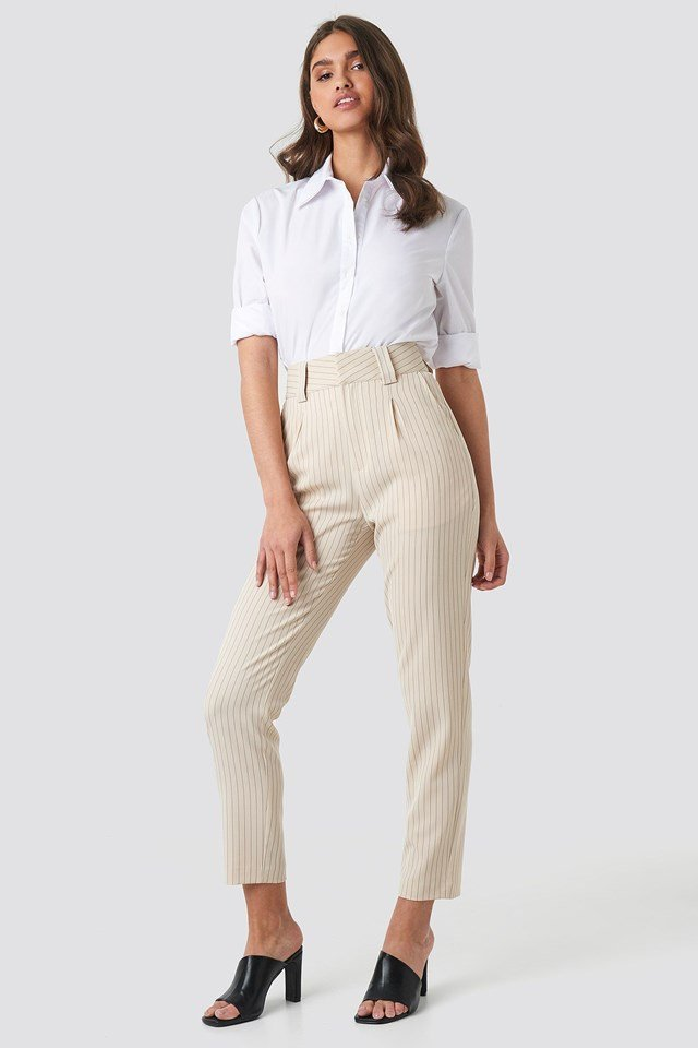 Pinstriped Cigarette Pants Outfit.