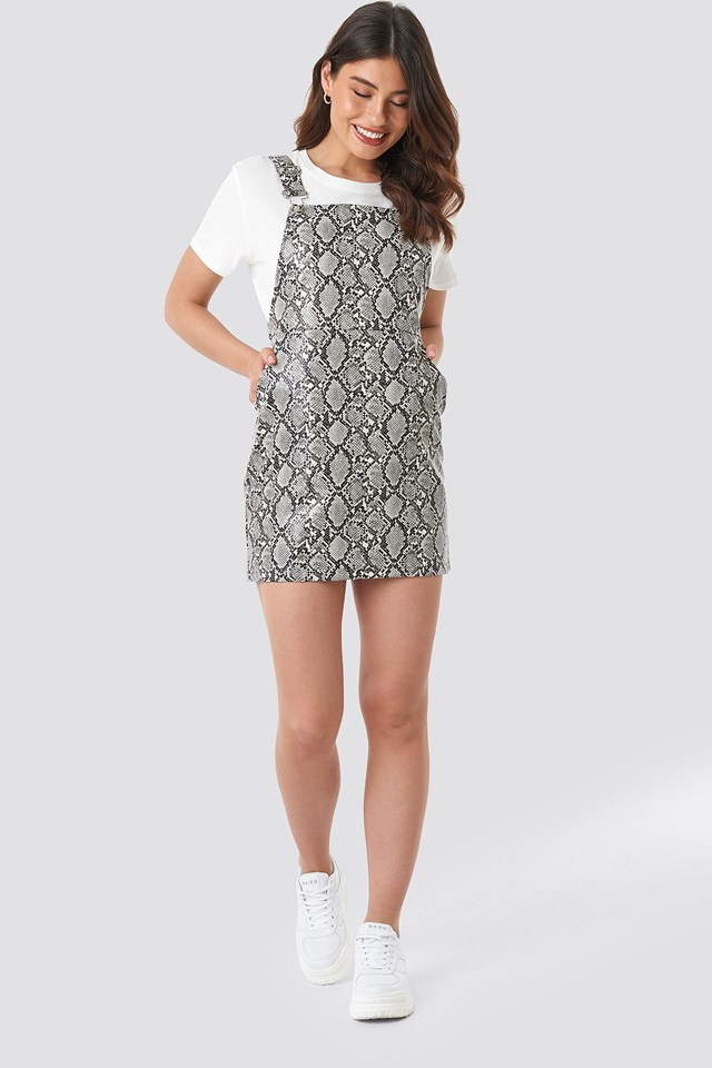 Snake Printed PU Dungaree Dress Multicolor Outfit