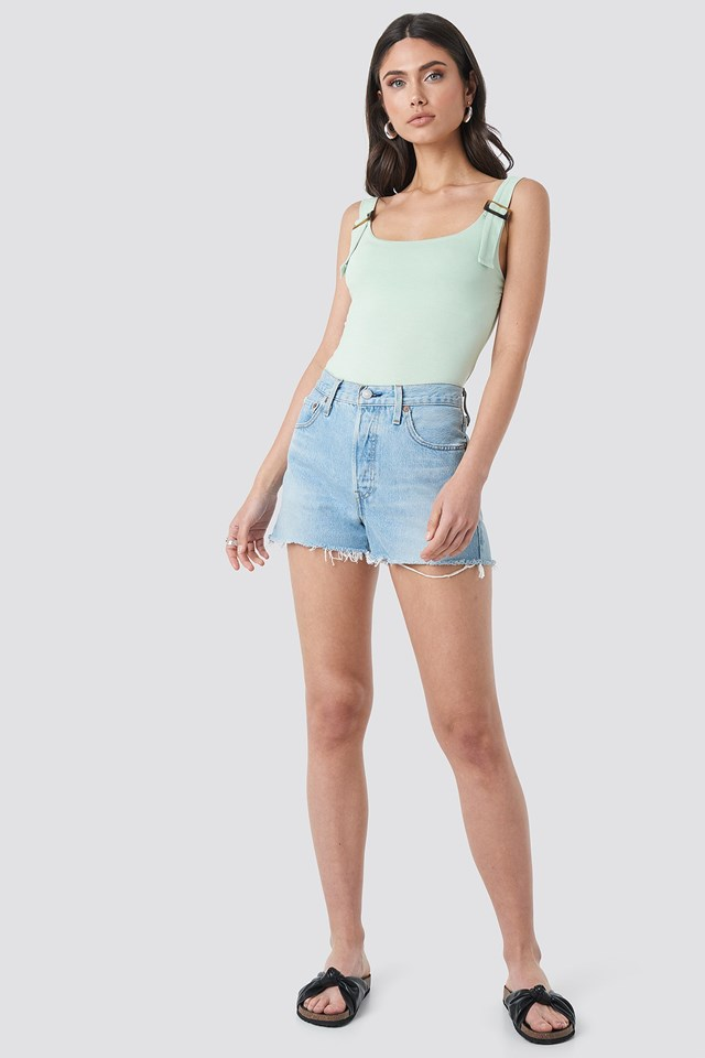 Belted Strap Tank Top Green Outfit