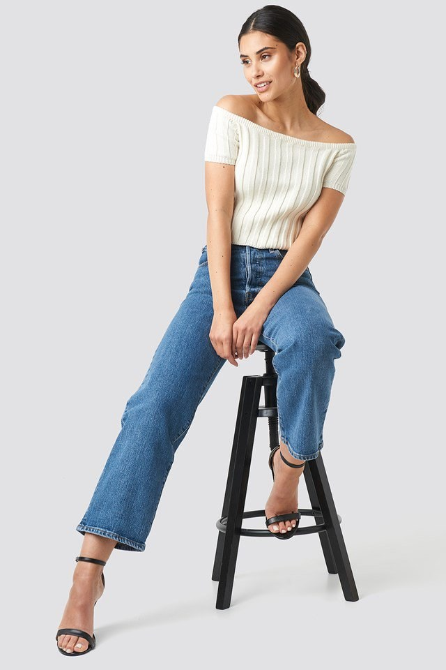 Off Shoulder Ribbed Knitted Top White Outfit