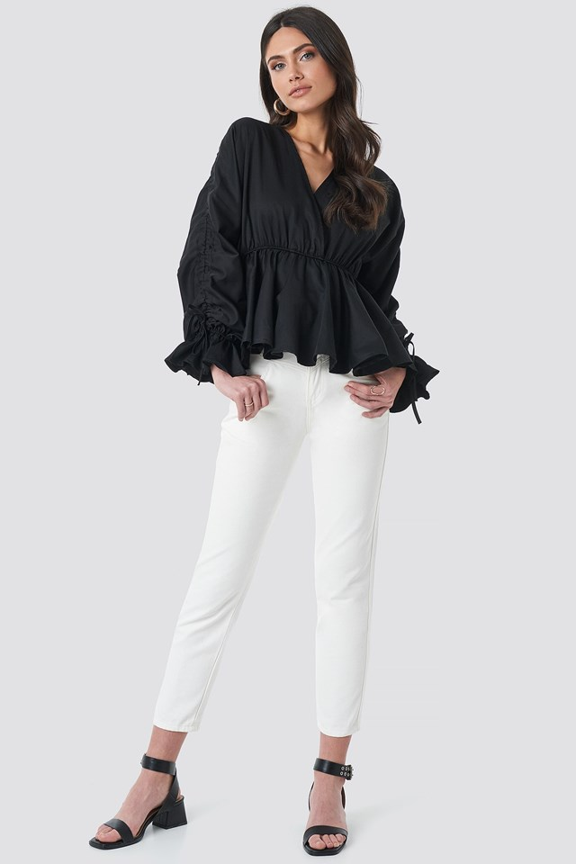 Shirred Waist Blouse Black Outfit