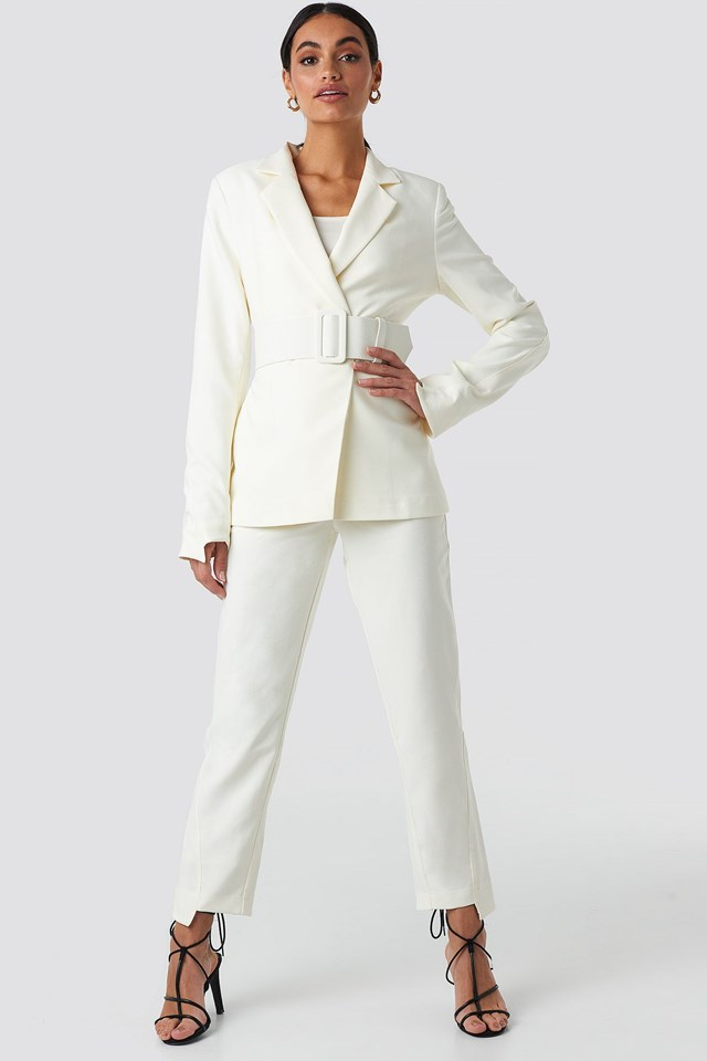 Wide Belted Suit Jacket White Outfit