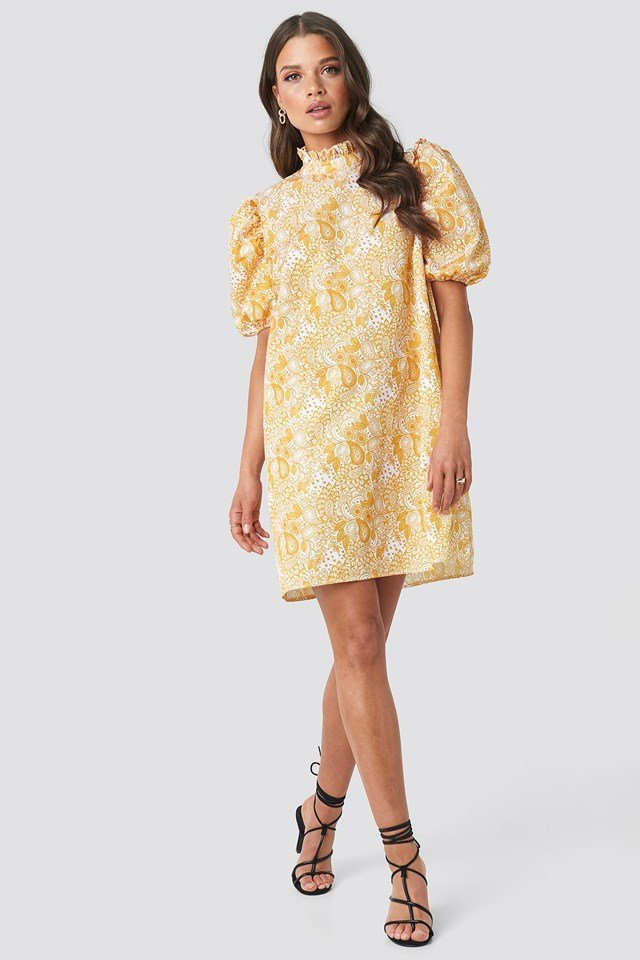 Puff Sleeve Mini Dress Yellow Outfit