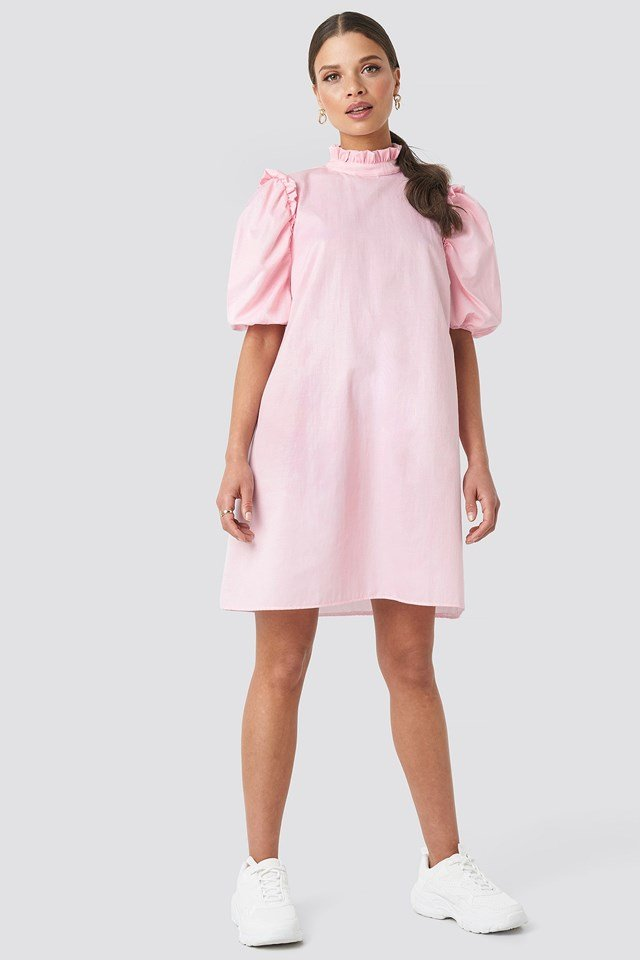 Puff Sleeve Mini Dress Pink Outfit